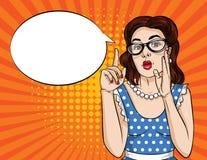 Vector komische Art der Retro- Illustrationspop-art einer hübschen Frau in den Brillen Finger oben zeigend vektor abbildung