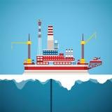 Vector Konzept der arktischen Öl- und Gasoffshoreindustrie Lizenzfreie Stockfotografie