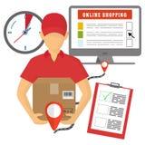 Vector Konzept der Lieferung, des beweglichen Marketings und des on-line-Einkaufens Lizenzfreie Stockbilder