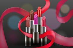 Vector Konzept des Entwurfes mit Lippenstiften auf dunklem Hintergrund Stockfotos