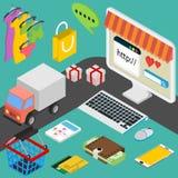 Vector Konzept des on-line-Shops im flachen Design Lizenzfreies Stockbild