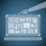 Vector Konzept des Röntgenstrahlflughafenscanners für Tourismus- und Dienstreiseindustrie Stockfotos