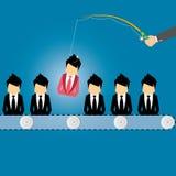 Vector Konzept des Suchens nach Berufsmaterial, Hauptjägerjob, Beschäftigungsfrage, Personalwesenmanagement oder dem Analysieren  Stockfotos