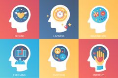 Vector Konzeptgefühl, Trägheit, Fantasie, freier Verstand, Gefühle, Empathie Flache Art der modernen Steigung stock abbildung