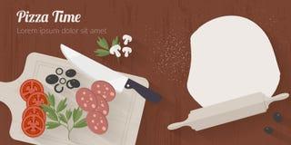 Vector kooktijdillustratie met vlakke pictogrammen Verse voedsel en materialen op keukenlijst in vlakke stijl Stock Foto
