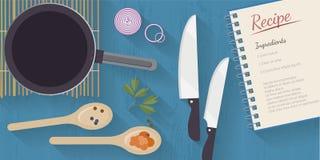 Vector kooktijdillustratie met vlakke pictogrammen Verse voedsel en materialen op keukenlijst in vlakke stijl stock illustratie