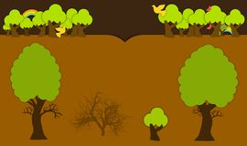 Vector kopbal met bomen en houtelementen Royalty-vrije Stock Fotografie