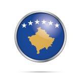 Vector Kosovan flag Button. Kosovo flag in glass button style. Royalty Free Stock Photography