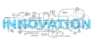 Vector kreative Illustration von Innovationswort-Beschriftung typogr Stockfotografie