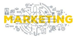 Vector kreative Illustration von Marketing-Wortbeschriftung typogra Stockfoto