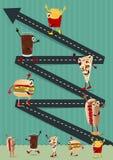 Vector kreative lustige Zeichentrickfilm-Figur des Schnellimbisses der Schablone Stockfotos