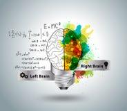 Vector kreatives Konzept des menschlichen Gehirns mit Glühlampeideen Stockbilder