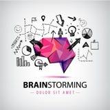 Vector kreatives Logo, den Geistesblitz, der neue Ideen, Teamwork-Illustration schafft stock abbildung