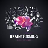 Vector kreatives Logo, den Geistesblitz und schaffen neue Ideen, Teamwork-Illustration lizenzfreie abbildung