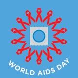 Vector kreatives minimales Konzept des Welt-Aids-Tages mit roten Fahnenbandsymbolen Stockbilder
