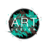 Vector Kreisrahmen mit Pinselhintergrund und Textkunstdesign Grüne der abstrakten Abdeckung grafische und braune Farbe Stockbilder
