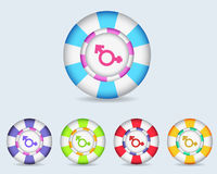 Vector Kugel-Sexualität-Ikonen-Taste Lizenzfreie Stockfotos