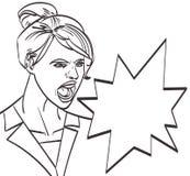 Vector Kunst der schreienden Frau, lineart lokalisierte ENV 10 Lizenzfreie Stockfotos