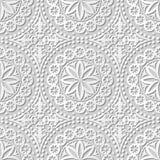 Vector Kunst-Musterhintergrund 136 runden Dot Flower Lace des Papiers 3D des Damastes nahtlosen Stockbilder