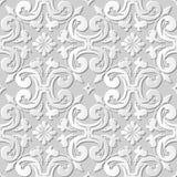 Vector Kunstmusterhintergrund 194 des Papiers 3D des Damastes nahtlose Kurven-Querblume Stockbilder