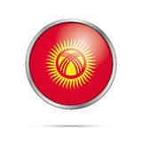 Vector Kyrgysian flag button. Kyrgyzstan flag in glass button st Royalty Free Stock Images