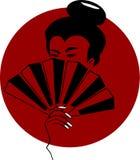 Vector l'abbozzo della donna giapponese sulla priorità bassa della bandierina Immagini Stock Libere da Diritti