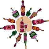 Vector l'accumulazione delle bottiglie di vino e di un vetro Fotografie Stock