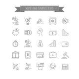 Vector l'affare, soldi e finanzi la linea sottile insieme dell'icona Fotografia Stock