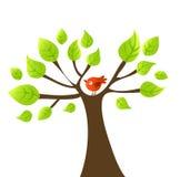 Vector l'albero con l'uccello Fotografia Stock