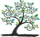 Vector l'albero della siluetta dell'illustrazione con le radici nel fondo bianco royalty illustrazione gratis