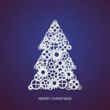 Vector l'albero di Natale di concetto ed il fondo moderni degli ingranaggi del meccanismo Invito di natale o del buon anno illustrazione di stock