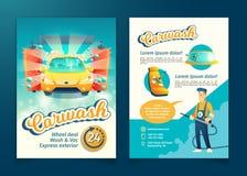 Vector l'aletta di filatoio di servizio di lavaggio dell'automobile, manifesto dell'annuncio illustrazione vettoriale
