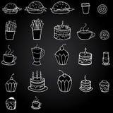 Vector l'alimento ed il pasto disegnati a mano su fondo nero Immagine Stock