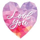 Vector l'amore del modello voi sul fondo del triangolo del cuore Fotografie Stock Libere da Diritti