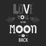 Vector l'amore dell'iscrizione voi alla luna ed alla parte posteriore del yhe Fotografia Stock