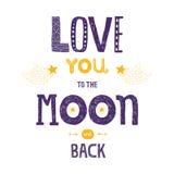 Vector l'amore dell'iscrizione voi alla luna ed alla parte posteriore del yhe Fotografie Stock Libere da Diritti