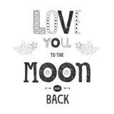 Vector l'amore dell'iscrizione voi alla luna ed alla parte posteriore del yhe Immagini Stock