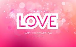Vector l'amore di carta dell'iscrizione su un fondo rosa Immagini Stock