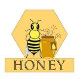 Vector l'ape che le illustrazioni disegnate a mano stonano e ape in favo, oggetti del miele del fiore Insegna, manifesto, etichet royalty illustrazione gratis