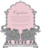 Vector l'arte dell'elefante reale nello stile indiano di arte illustrazione vettoriale