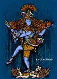 Vector l'arte dello shiva indiano del dio a colori illustrazione di stock