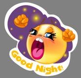 Vector l'autoadesivo sorridente sonnolento con il fondo di notte per il messaggero Fotografia Stock