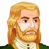 Vector l'avatar del carattere un uomo con una barba sopra Immagini Stock Libere da Diritti