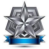 Vector l'elemento lucido glorioso di progettazione, la stella d'argento 3d Immagini Stock Libere da Diritti