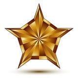Vector l'elemento lucido glorioso di progettazione, la stella dorata del lusso 3d, co Fotografia Stock Libera da Diritti