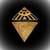 Vector l'elemento tribale etnico disegnato a mano dell'oro isolato su fondo nero Illustrazione dorata Fotografie Stock