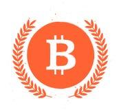 Vector l'emblema piano semplice del bitcoin isolato su fondo bianco Fotografia Stock Libera da Diritti