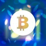 Vector l'emblema piano semplice del bitcoin su fondo vago blu Immagini Stock
