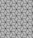 Vector l'esagono sacro senza cuciture moderno del modello della geometria, estratto in bianco e nero Immagini Stock