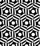 Vector l'esagono senza cuciture moderno trippy, estratto in bianco e nero del modello della geometria Fotografia Stock Libera da Diritti